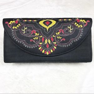 Black Clutch with Red & Yellow Embroidery NWOT